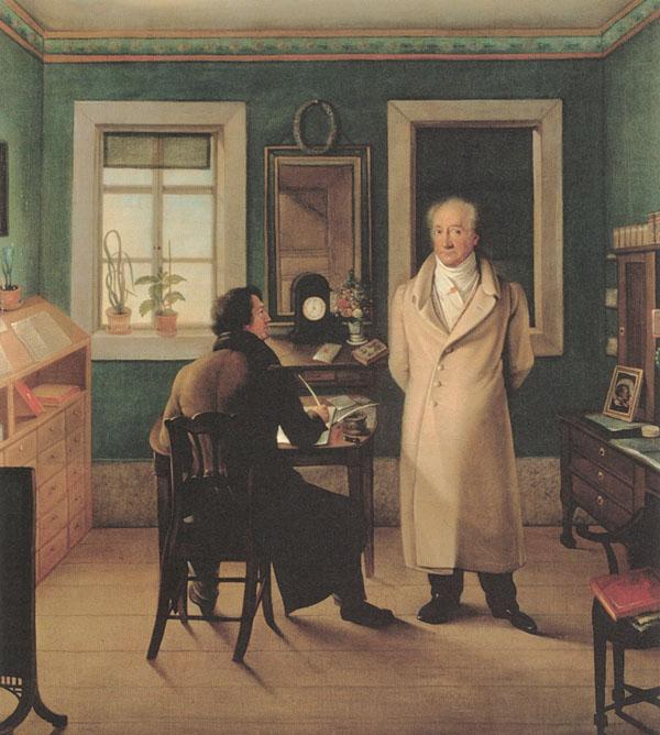 Johann_Joseph_Schmeller_-_Goethe_seinem_Schreiber_John_diktierend,_1831