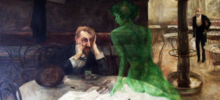The Absinthe Drinker, a famous painting hanging in Café Slavia.