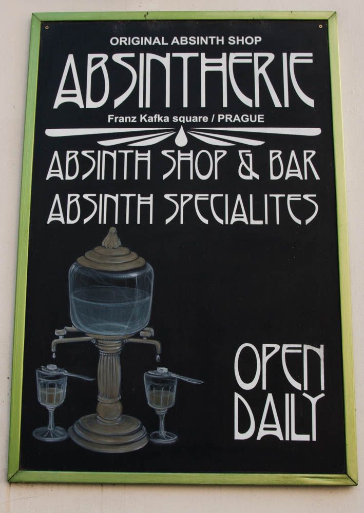 Absinthe, which is banned or not readily available in other European countries, is reveled in in Prague.