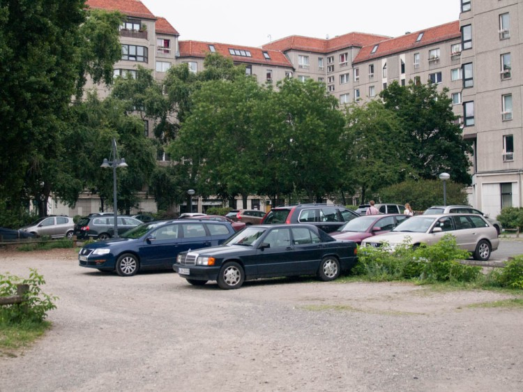 The seat of Hitler's bunker in Berlin, where he committed suicide and where Goebbel's wife killed her six children--a parking lot and utilitarian appartments. The lack of any sort of monument is just as fitting and unsettling as the massive memorial to the Jewish victims of the Holocaust across the street.