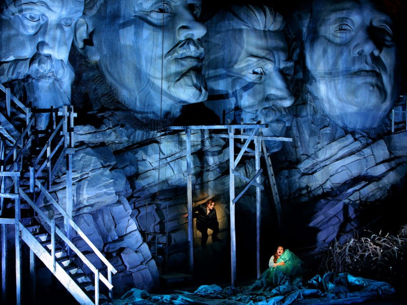 Frank Castorf's Ring production: Euro-trash or a provocative examination of capitalism, greed, US-Germany relations, etc. etc? Here, the final act of Siegfried under a socialistic Mount Rushmore.