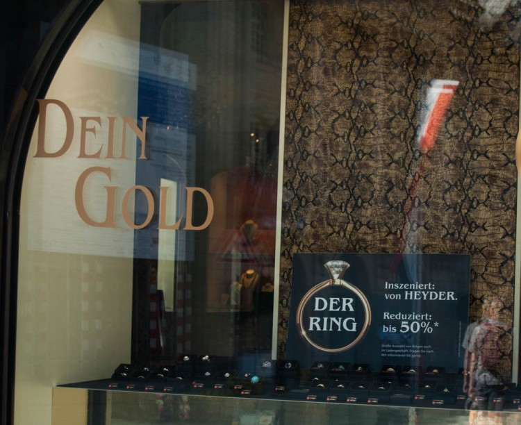 "Jewelry shop where you can buy ""Der Ring,"" rofl. ""Dein Gold"" (Your Gold) instead of ""Rheingold"" (first opera of the Ring Cycle), get it??"