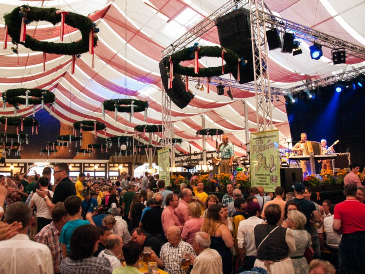Inside the Bierzelt (Beer Tent).