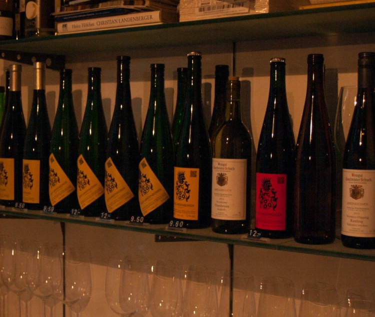 The wines for sale.