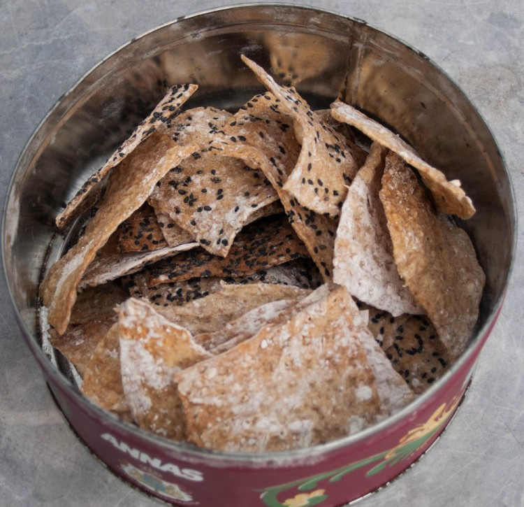 Besides raising sheep, Curre also grows and preserves several types of ancient grains. Here, fresh crackers made with spelt and served with sour-milk cheese.