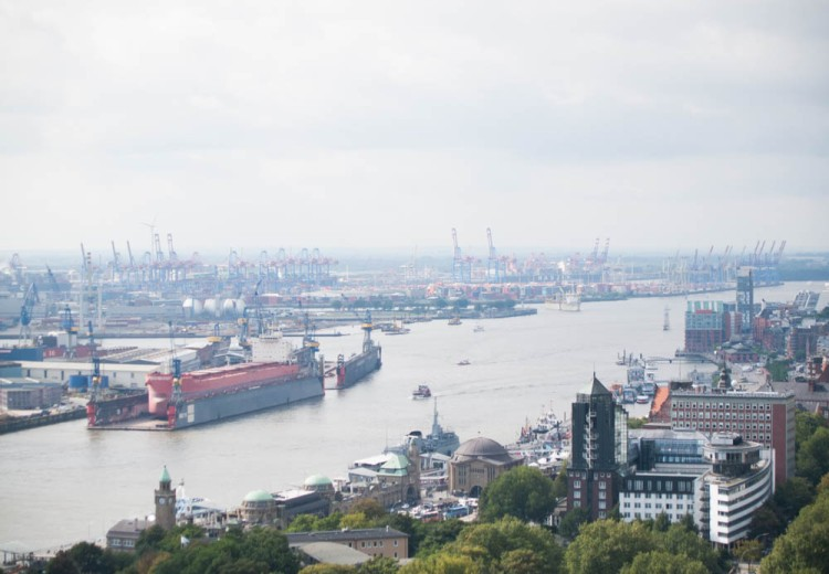 A view of the harbor from the tower of St. Michaelis Church in downtown Hamburg.