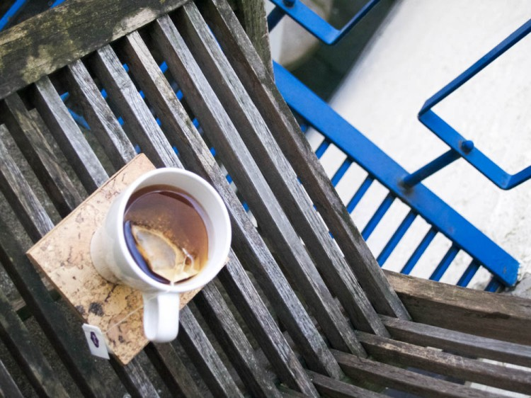 Tea on the tiny blue balcony.