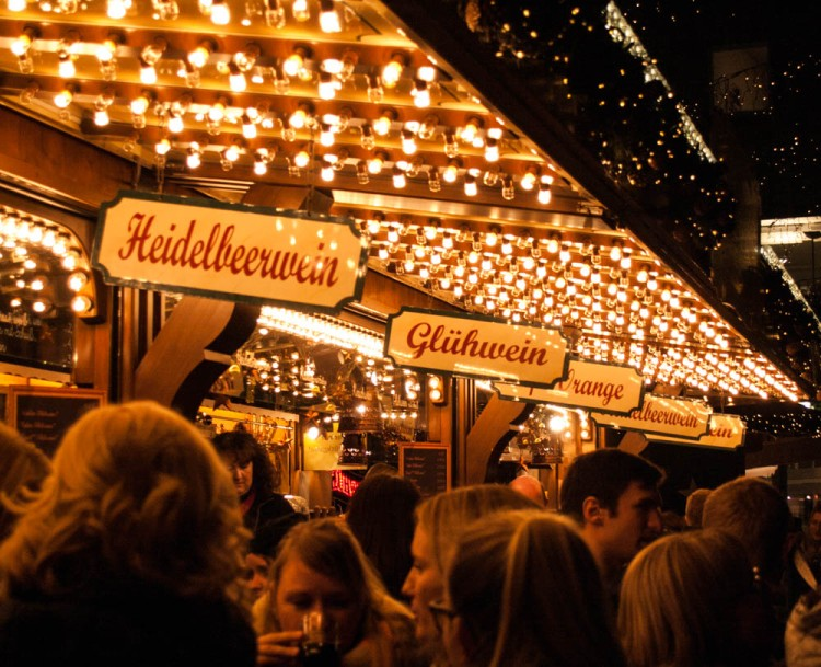 Glühwein--hot mulled wine drunk from mugs--is at the center of Weihnachtsmarkt cuisine.