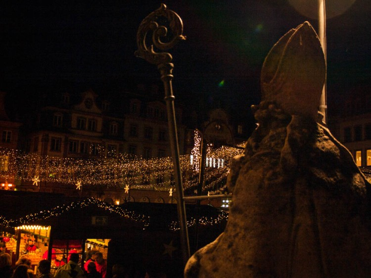 St. Bonifatius watches over the Christmas Market in Mainz.