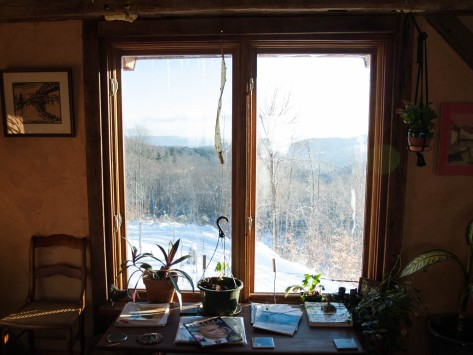 The front windows look out over the White Mountains in New Hampshire.